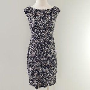 Ruched Waist Cap Sleeve Knit Career Dress